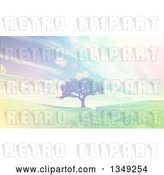 Clip Art of Retro 3d Tree on a Grassy Hill, with Sunshine and Clouds by KJ Pargeter