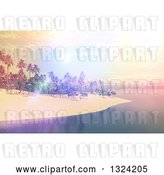 Clip Art of Retro 3d Tropical Island with a Pastel and Bright Sunset by KJ Pargeter
