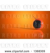 Clip Art of Retro 3d Tv on an Orange Background by Julos