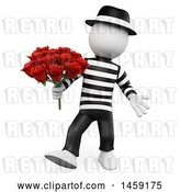 Clip Art of Retro 3d White French Guy with Roses, on a White Background by Texelart