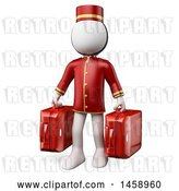 Clip Art of Retro 3d White Guy Bellhop Holding Suitcases, on a White Background by Texelart