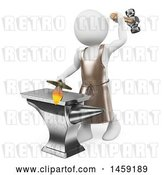 Clip Art of Retro 3d White Guy Blacksmith Forging a Sword, on a White Background by Texelart