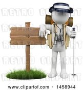 Clip Art of Retro 3d White Guy Hiker by a Sign, on a White Background by Texelart
