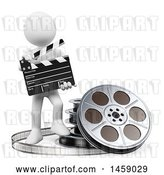 Clip Art of Retro 3d White Guy Movie Director, on a White Background by Texelart