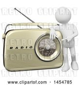 Clip Art of Retro 3d White Guy Presenting a Radio, on a White Background by Texelart