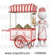 Clip Art of Retro 3d White Guy Selling Ice Cream, on a White Background by Texelart
