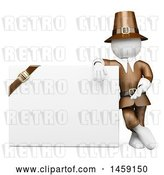 Clip Art of Retro 3d White Guy Thanksgiving Pilgrim with a Blank Sign, on a White Background by Texelart