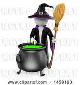 Clip Art of Retro 3d White Guy Witch Making a Potion, on a White Background by Texelart