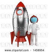 Clip Art of Retro 3d White Guy with a Rocket, on a White Background by Texelart