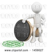 Clip Art of Retro 3d White Guy with an Approved Stamp, on a White Background by Texelart