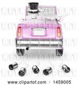 Clip Art of Retro 3d White Wedding Couple Driving Away in a Car, on a White Background by Texelart