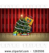 Clip Art of Retro 3d Yellow Robot Smiling Around a Christmas Tree, over Red Curtains by Stockillustrations