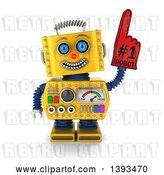 Clip Art of Retro 3d Yellow Robot Wearing a Number One Foam Finger, on a White Background by Stockillustrations