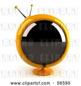Clip Art of Retro 3d Yellow Round Television - Version 1 by Julos
