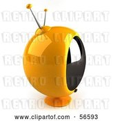 Clip Art of Retro 3d Yellow Round Television - Version 2 by Julos