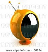 Clip Art of Retro 3d Yellow Round Television - Version 3 by Julos