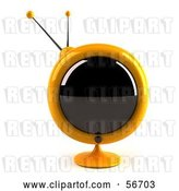 Clip Art of Retro 3d Yellow Round Television - Version 4 by Julos