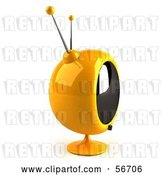 Clip Art of Retro 3d Yellow Round Television - Version 5 by Julos