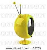Clip Art of Retro 3d Yellow Round Television - Version 6 by Julos