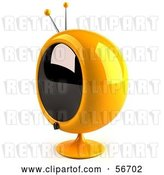 Clip Art of Retro 3d Yellow Round Television - Version 7 by Julos