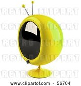 Clip Art of Retro 3d Yellow Round Television - Version 8 by Julos
