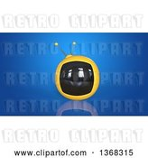 Clip Art of Retro 3d Yellow Tv on a Blue Background by Julos