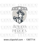 Clip Art of Retro American Patriot Minuteman Revolutionary Soldier Crest with Always Honour the Heroes on Patriot's Day Text on White by Patrimonio