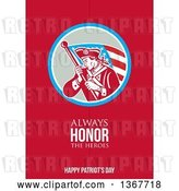Clip Art of Retro American Patriot Minuteman Revolutionary Soldier Wielding a Flag with Always Honor the Heroes Happy Patriots Day Text on Red by Patrimonio