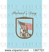 Clip Art of Retro American Patriot Minuteman Revolutionary Soldier Wielding a Flag with Always Honour the Heroes on Patriot's Day Text on Blue by Patrimonio