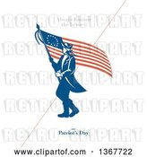 Clip Art of Retro American Patriot Minuteman Revolutionary Soldier Wielding a Flag with Always Honour the Heroes on Patriot's Day Text on White by Patrimonio