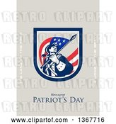 Clip Art of Retro American Patriot Minuteman Revolutionary Soldier Wielding a Flag with Land of the Free and Home of the Brave and Have a Great Patriot's Day Text on Taupe by Patrimonio