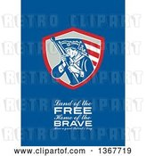 Clip Art of Retro American Patriot Minuteman Revolutionary Soldier Wielding a Flag with Land of the Free, Home of the Brave, Have a Great Patriot's Day Text on Blue by Patrimonio