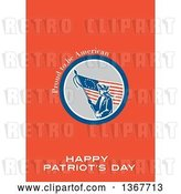 Clip Art of Retro American Patriot Minuteman Revolutionary Soldier Wielding a Flag with Proud to Be American, Happy Patriot's Day Text on Red by Patrimonio