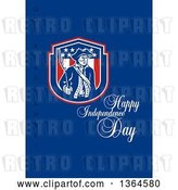 Clip Art of Retro American Revolutionary Patriot Soldier Holding a Bayounet in a Shield, with Happy Independence Day, God Bless America Text on Blue by Patrimonio
