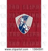 Clip Art of Retro American Revolutionary Patriot Soldier Holding a Flag over God Bless America, Happy Independence Day, 4th July Text on Red by Patrimonio