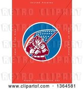Clip Art of Retro American Revolutionary Patriot Soldier Holding a Flag, with United Forever, Land of the Free, Home of the Brave, Happy Independence Day Text on Red by Patrimonio