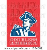 Clip Art of Retro American Revolutionary Patriot Soldier over Happy Independence Day, 4th of July, God Bless America Text on Red by Patrimonio