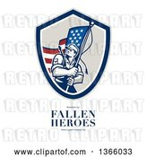 August 14th, 2018: Clip Art of Retro American Soldier Weilding a Flag over Remember Our Fallen Heroes Have a Great Memorial Day Text on White by Patrimonio