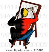 Clip Art of Retro Artist Sitting on a Stool and Painting by Patrimonio