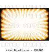Clip Art of Retro Background of Orange Rays with Dark Grunge Borders by Arena Creative