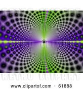 Clip Art of Retro Background of Psychedelic Green and Purple Circles Leading and Reflecting into the Distance by ShazamImages