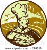 Clip Art of Retro Baker Holding Bread Logo by Patrimonio