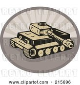 Clip Art of Retro Battle Tank over an Oval by Patrimonio