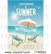 Clip Art of Retro Beach Poster with Furniture a Banner and Sample Text by Eugene