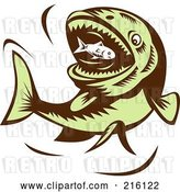 Clip Art of Retro Big Green Fish Eating a Little Fish by Patrimonio