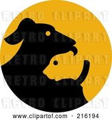 Clip Art of Retro Black and Orange Dog Logo by Patrimonio