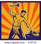 Clip Art of Retro Blacksmith Guy Hammering by Patrimonio