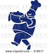 Clip Art of Retro Blue and White Chef Carrying a Pot by Patrimonio