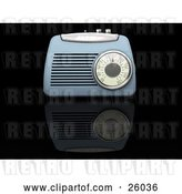 Clip Art of Retro Blue Radio Box on a Reflective Black Surface by KJ Pargeter