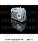 Clip Art of Retro Blue Radio with a Station Dial, on a Reflective Black Surface by KJ Pargeter